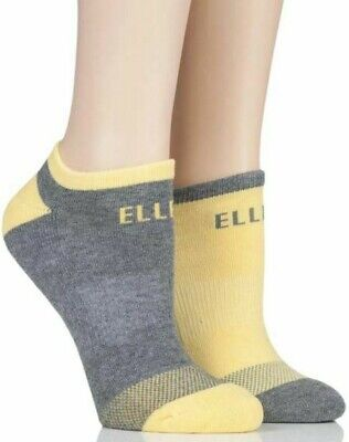 Elle-Trainer Socks-2 Pair Pack-Cushioned Ankle And Cushioned Sole-84% Cotton • 7£