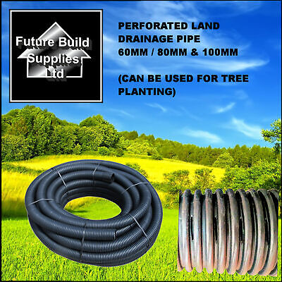 2  60mm X 25m  3 80mm X 25m & 4  100mm X 25m Perforated Land Drain Drainage Pipe • 56.56£