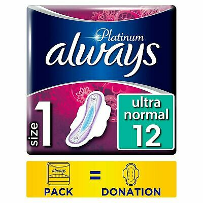 £9.13 • Buy Always Platinum Normal Pads Standard Sanitary Towels With Wings, Size 1, 12 Pack