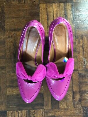 Hobbs NW3 ~ Magenta Pink Patent Leather Courts Shoes 3.75  Block Heels Size 7 40 • 18£