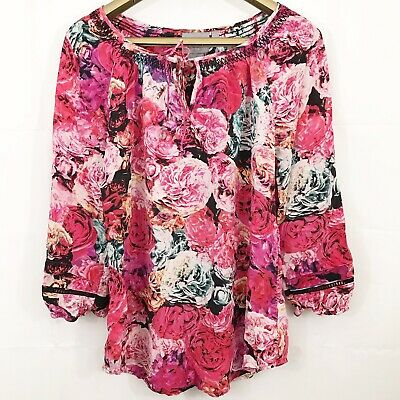 $ CDN35 • Buy Vanessa Virginia Womens Top Size XS Captured Rose Blouse 100% Silk Anthropologie