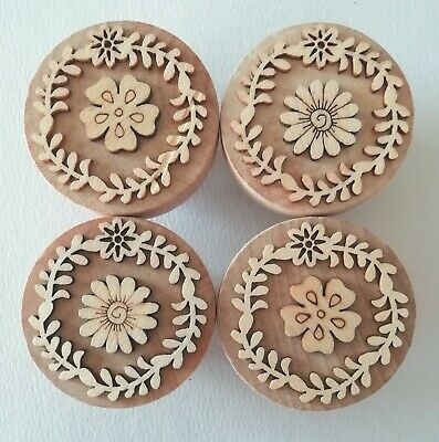 Large 48mm Uniquely Hand-Made Wooden Door/Drawer Knobs Floral • 14£