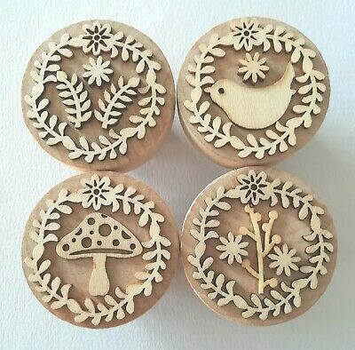 Large 48mm Uniquely Hand-Made Wooden Door/Drawer Knobs Rustic Floral Woodland • 14£