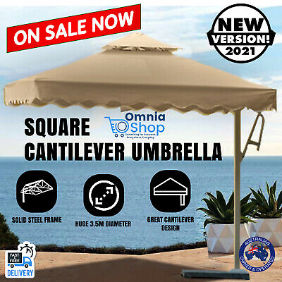 AU270.97 • Buy 3.5M Large Square Cantilever Outdoor Umbrella Beige Tan Steel Frame Canopy Shade