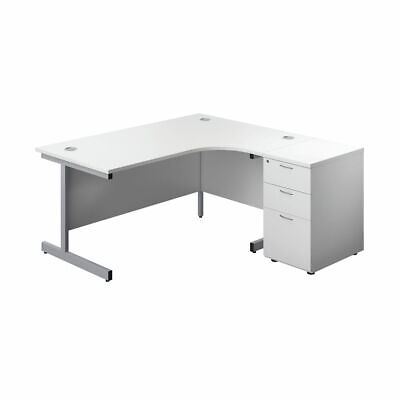 £248.48 • Buy First Right Hand Radial Desk 1600 White/Silver With Pedestal KF803300