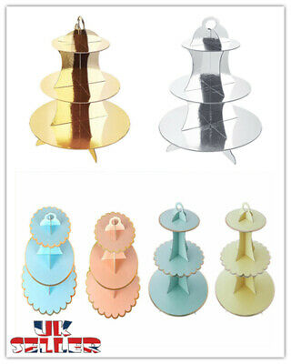 UK 3 Tier Cardboard Cake Stand Afternoon Tea Wedding Plates Birthday Party Gold • 6.99£
