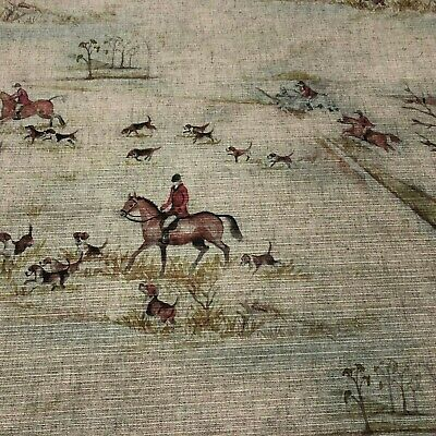 The Hunt Cotton Ottoman Fabric | Voyage Style Fox Hunting Hound Horse | In Stock • 21.95£