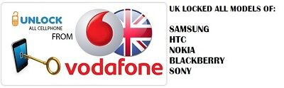 UK VODAFONE SAMSUNG, NOKIA, SONY, BLACKBERRY, HTC All Models UNLOCK CODE • 3.99£