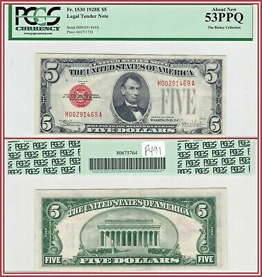 $ CDN107.39 • Buy 1928E Red Seal $5 Legal Tender Note PCGS 53 PPQ About Unc AU Five Dollars