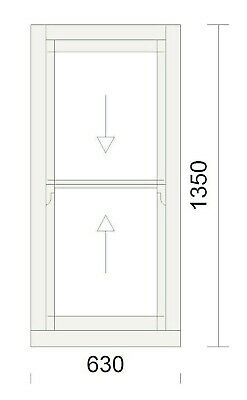 Timber Sash Window - Pre Finished In White - Double Glazed - 630mm W X 1350mm H • 525£
