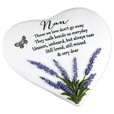 Special Nan Grave Heart Outdoor Stone Plaque Memorial With Lavender New Design • 9.72£