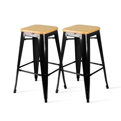 AU130.09 • Buy Set Of 2 Retro Tractor Wooden Design Backless Bar Stools Wood Seat BLACK