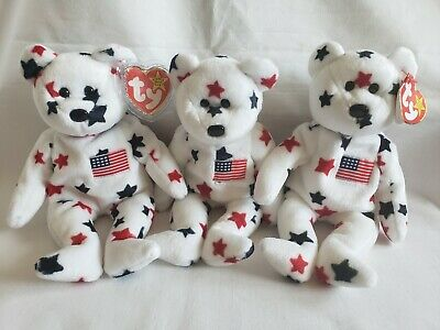 $99.99 • Buy  Ty Beanie Baby (3)  GLORY  -  USA Stars Teddy Bear  ORIGINAL RETIRED-ERRORS