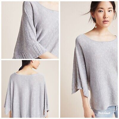 $ CDN36.99 • Buy NWOT ANTHROPOLOGIE Alicia Shimmer Pullover Sz SMALL - GREY Top Blouse