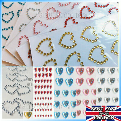 Heart Stickers Gem Glitter Hand Made Card Craft Love Hearts Diamante Sparkly💘 • 2.29£