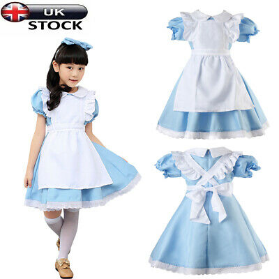 Girls Alice Princess Costume Wonderland Kids Book Week Day In Fancy Dress Outfit • 12.99£