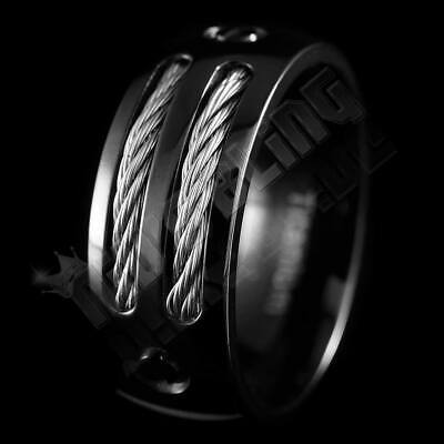 $19.99 • Buy Black Stainless Steel Cable Inlay Engagement Ring Mens Womens Wedding Band NEW