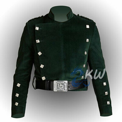 £39.51 • Buy Montrose Doublet Kilt Jacket Double Breasted In Green Color Velveteen Fabric