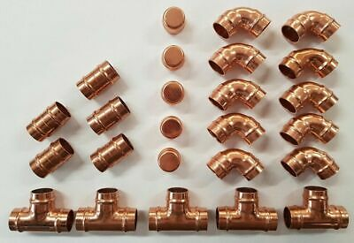 25 X 22mm Solder Ring Fitting Yorkshire Type Fittings Plumbing Copper Pipe DIY • 24.99£