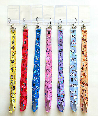 $9.99 • Buy BTS BT21  Neck Strap Lanyard Key Chain With Clear Card Holder +10 BTS Stickes