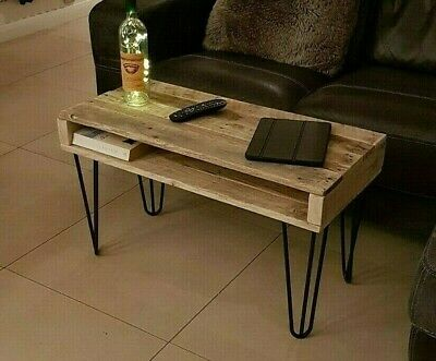 Rustic Coffee Table, Reclaimed Pallet, Handmade, Metal Hairpin Legs • 119.99£
