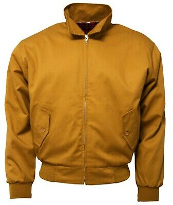 Relco Men's Harrington Mustard Yellow Bomber Tartan Lined Soul Mod Skins Jacket • 34.99£