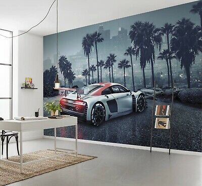 Giant Wall Mural Wallpaper Audi R8 In L.A. Chlildren's Beedroom DECOR Sports Car • 64.99£