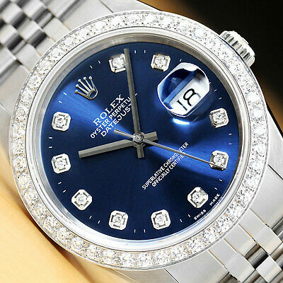 $ CDN8771.15 • Buy Mens Rolex Datejust Blue Dial 1.60 Ct Diamond Bezel 18k White Gold & Steel Watch
