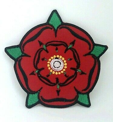 Red Lancashire Rose Iron On Sew On Embroidery Patch 698R • 1.99£