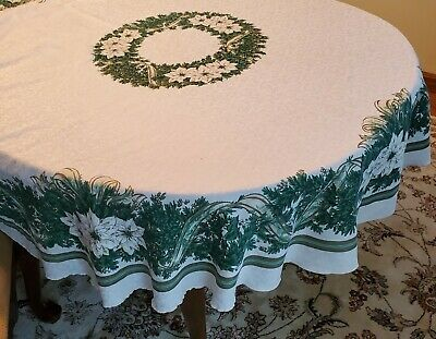 $ CDN22.67 • Buy Vintage Round Holiday Christmas Tablecloth 66  Green White Poinsettias