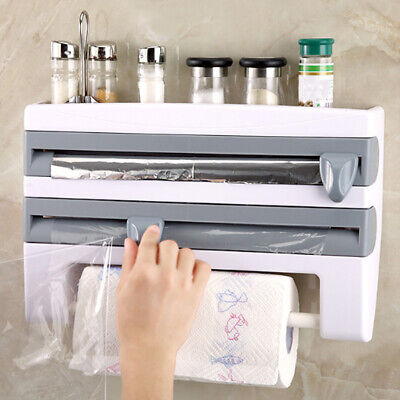 £11.95 • Buy Kitchen Roll Holders Wall Mounted Foil Cling Film Dispenser Paper Towel Storage