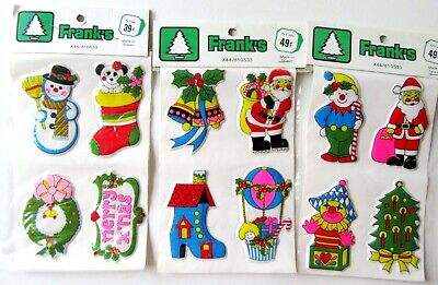 $ CDN9.30 • Buy Vintage Puffy Christmas Stickers Frank's Stocking Snowman Santa Bells Tree 3 Pkg
