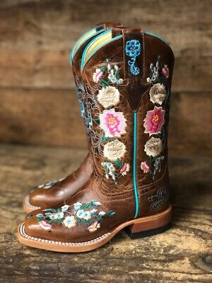 $149 • Buy Macie Bean Youth Honey Bunch Floral Embroidered Square Toe Western Boots MK9012