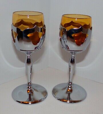 $24 • Buy  Farber Bros New York Pair Krome Kraft Amber Cambridge Cordial Liquor Glasses