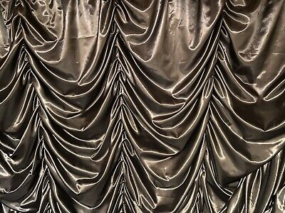 Black Satin Festoon Austrian Stage Drape Theatre Or Club 6m X 3m (20ft X 10ft) • 115.37£