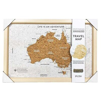 AU39.95 • Buy SPLOSH TRAVEL MAP - CORK FRAMED BOARD W/ PINS - AUSTRALIA - 53.5cm X 36.5cm *NEW