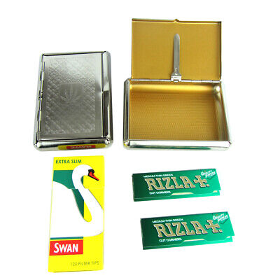 Metal Case Rizla Rolling Paper Swan Filter Tips Tin Tobacco Kit UK • 5.48£