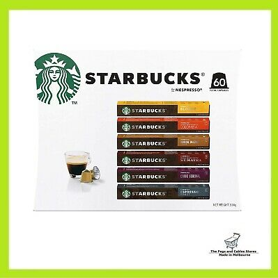 AU45.90 • Buy Starbucks By Nespresso Coffee Pods Variety Pack 60 Capsules (10 Of Each Flavor)