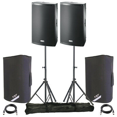 £734 • Buy 2x FBT X-LITE 10A 10  2000W Powered Active PA Speaker DJ Disco + Covers + Stands