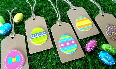 Easter Gift Tags Colouful 3D Easter Eggs Kraft Card Labels 9x4.5cm + Jute Ties  • 2.05£