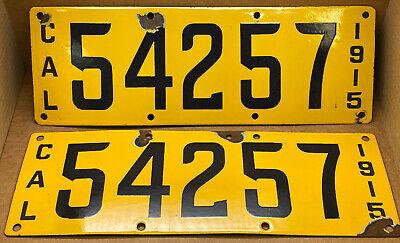 $ CDN1185.23 • Buy Rare Pair Antique 1915 Dmv Clear California Porcelain License Plate Original