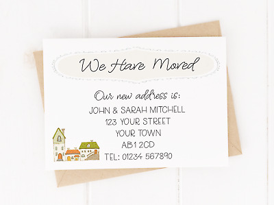Personalised New Home / Change Of Address Cards With Envelopes - Pack Of 10 • 3.50£