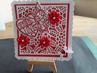 Handmade Any Occasion Card Topper, Flowers, Heart, Sentiment, Birthday,... • 2.49£
