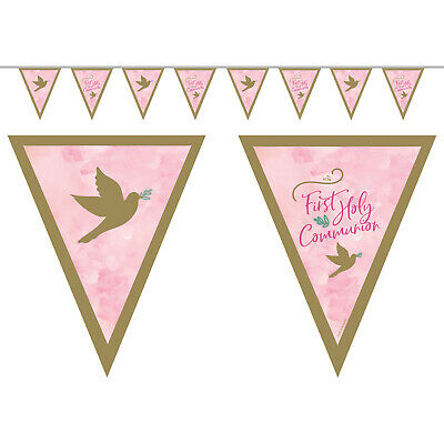 1st Holy Communion Girls Pink Bunting Flag Banner Communion Party Decorations • 4.25£