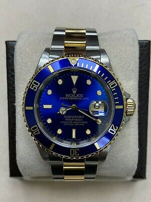 $ CDN11361.38 • Buy Rolex Submariner 16613 Blue Dial 18K Yellow Gold Stainless Steel