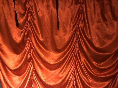 Red Satin Festoon Austrian Stage Drape Theatre Or Club 3m X 3m • 59.99£