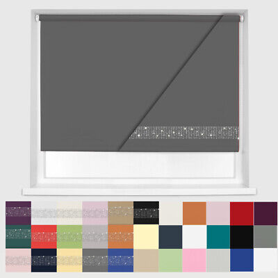 100% THERMAL BLACKOUT AND BLACKOUT DIAMANTE ROLLER BLINDS - UP TO 240cm WIDTH  • 27.99£