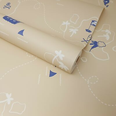 Children's Kids Boys Beige Nautical Sea Pirates, Sharks, Treasure Map Wallpaper • 6.49£