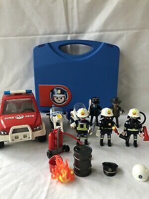 Playmobil Firemen Police Robber Figures Car Bikes Accessories Carry Case • 8.50£