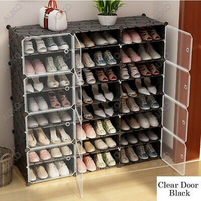 AU75.99 • Buy Clear Door Cube DIY Shoe Cabinet Rack Storage Portable Stackable Organiser Stand